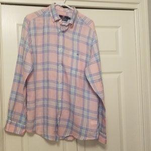Mens Linen Pink Plaid Shirt